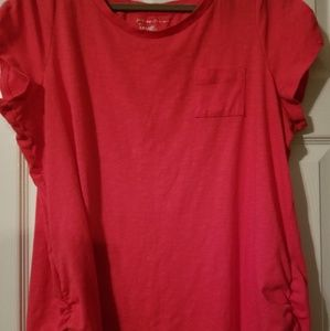 Hot Pink Top w/roched sides! Size 1X
